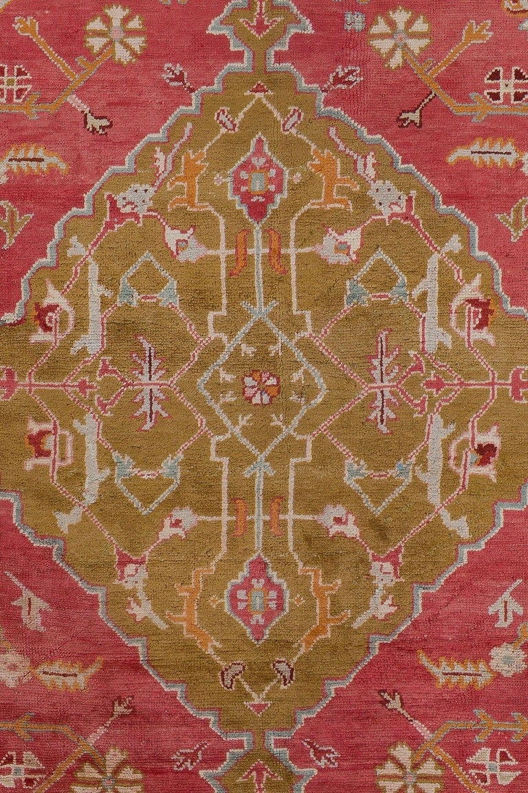 Colorful Antique Oversize Square Oushak Rug For Sale At