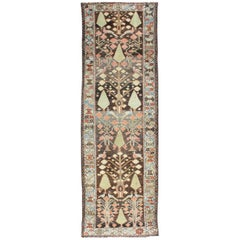 Colorful Antique Persian Bakhtiari Runner with Unique Tribal Design