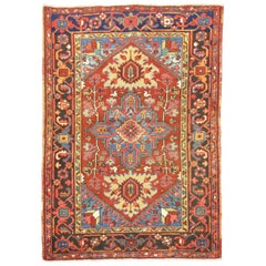 Colorful Antique Persian Heriz Scatter Rug
