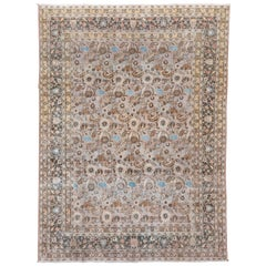 Colorful Antique Persian Khorassan Rug, All-Over Pink Field, Colorful Details