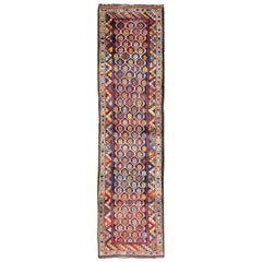 Colorful Antique Persian Lori Runner with Repeating Geometric Palmette Design