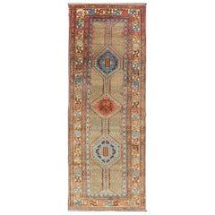 Colorful Antique Persian Serab Gallery Rug with Unique Geometric Design