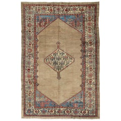 Colorful Antique Persian Serab Rug with Unique Geometric Design