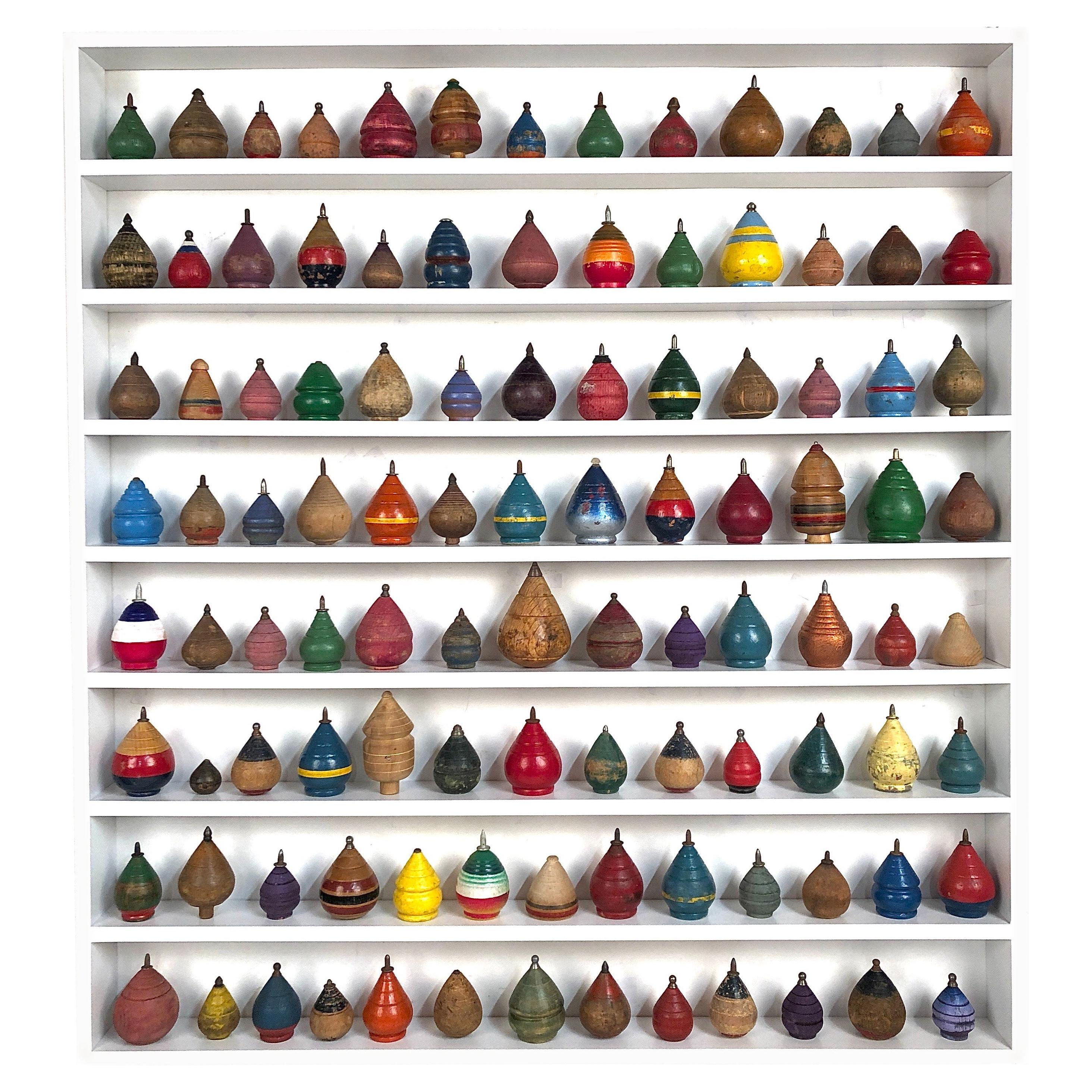 Colorful Antique Wooden Toy Spinning Top in Custom Display 104 Pieces
