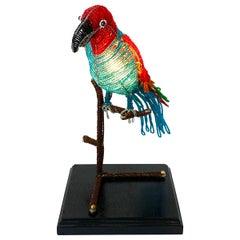Colorful Art Deco Czechoslovakian Glass Beaded Parrot Lamp