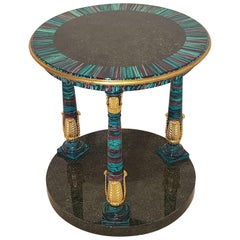Colorful Art Deco Design Side Table with Gold Leaf Details