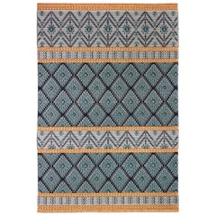 Colorful Banded Carpet, in Hand-Tufted Sardinian Wool