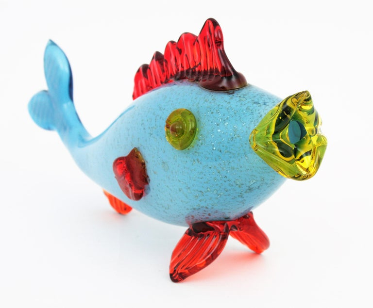 20th Century Colorful Blue, Red and Yellow Silver Flecked Murano Art Glass Sexy Fish Figure For Sale