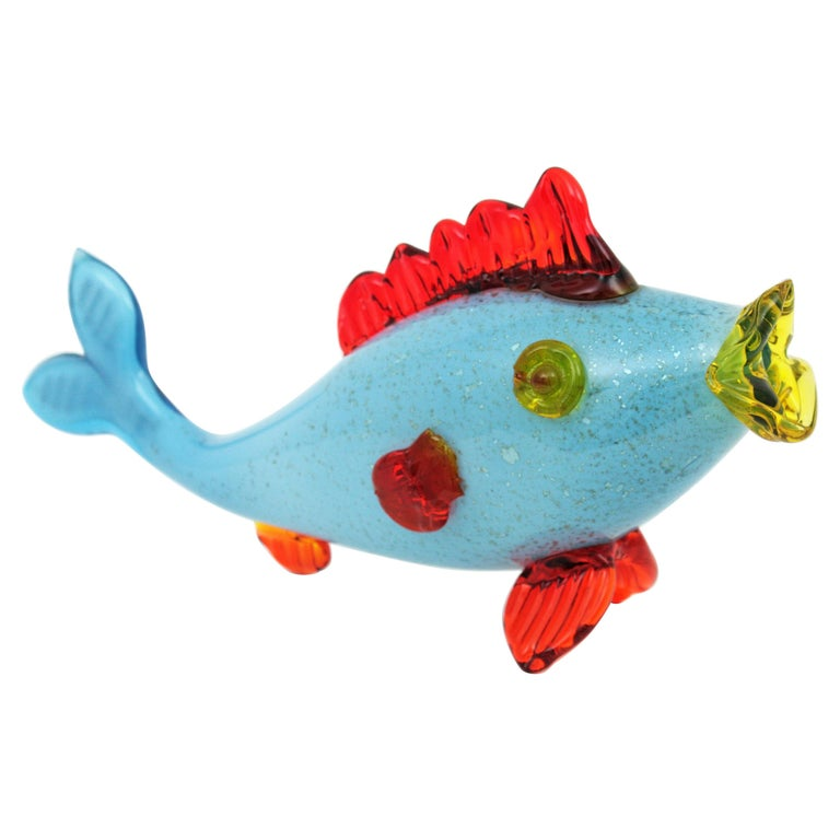 Colorful Blue, Red and Yellow Silver Flecked Murano Art Glass Sexy Fish Figure For Sale