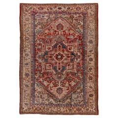 Colorful & Bright Antique Persian Heriz Carpet, Circa 1920s