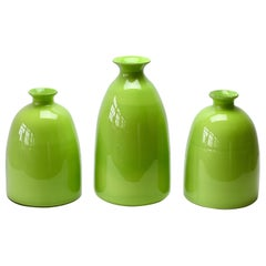 Colorful Cenedese Set of Tall Green Vintage Italian Murano Glass Vases