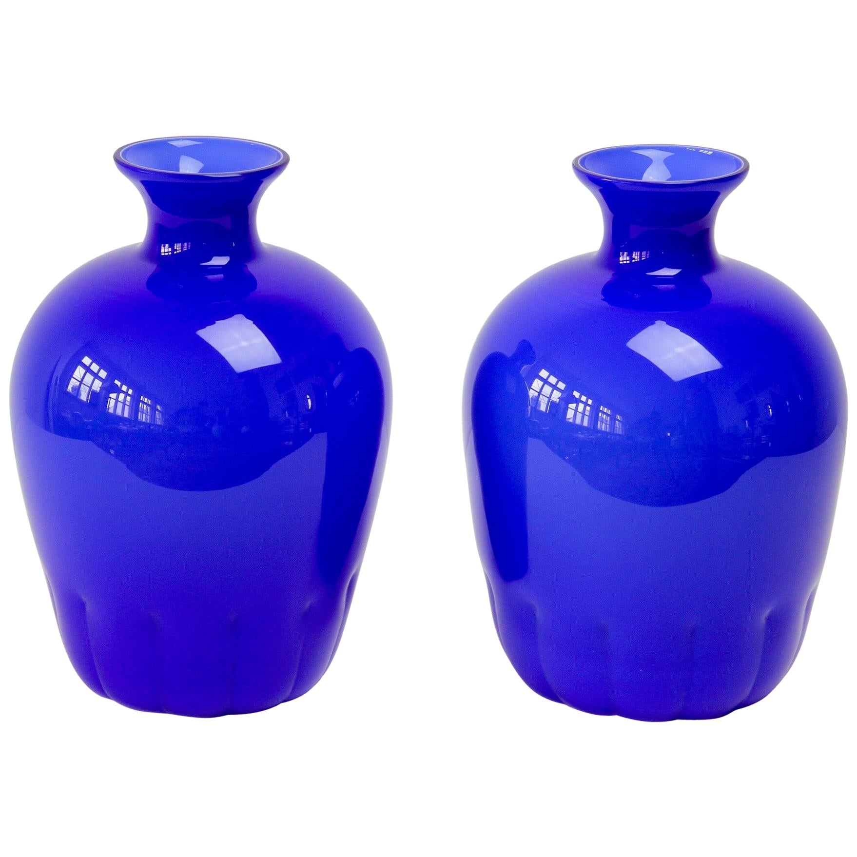 Colorful Cenedese Pair of Cobalt Blue Vintage Italian Murano Glass Vases