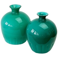 Colorful Cenedese Pair of Teal Green Vintage Italian Murano Glass Vases