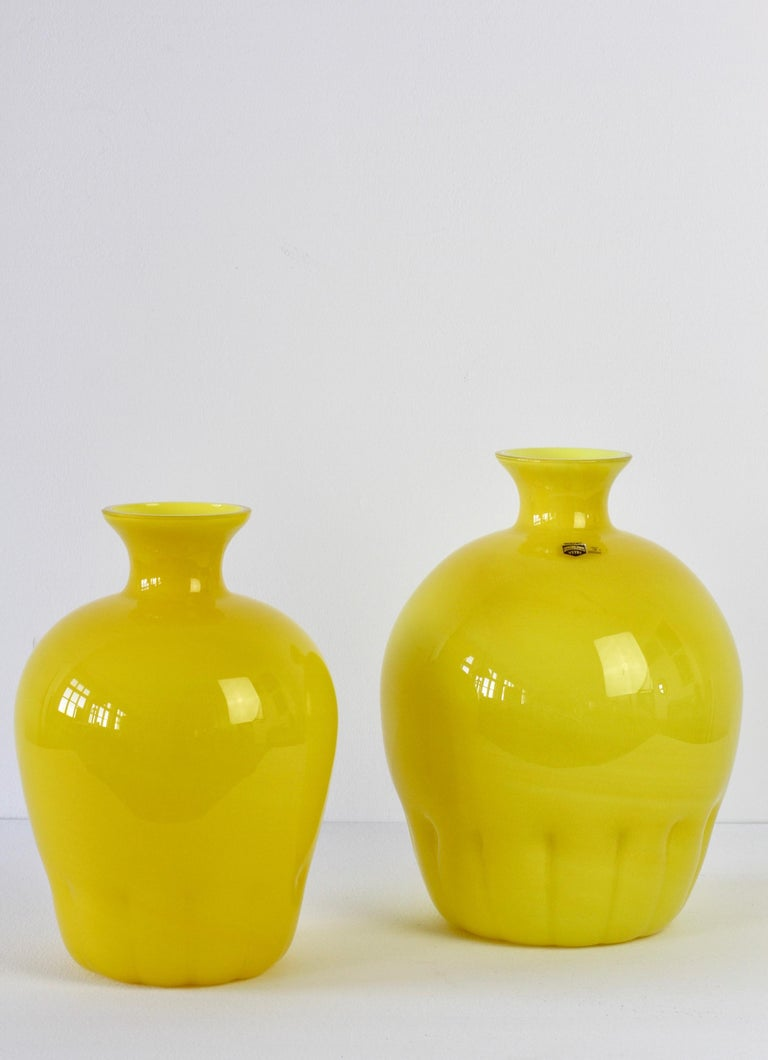 Blown Glass Colorful Cenedese Pair of Yellow Vintage Italian Murano Glass Vases, circa 1990s For Sale