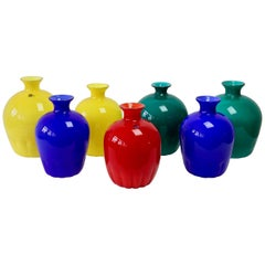 Colorful Cenedese Set of Red, Blue, Green & Yellow Vintage Italian Murano Vases