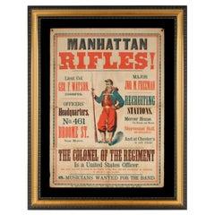 "Colorful Civil War Recruitment Broadside for the ""Manhattan Rifles"""