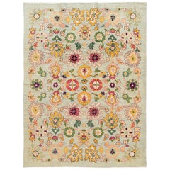 Colorful Contemporary Oushak Handmade Wool Rug