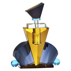 Colorful Crystal Perfume Flacon, Hand-Sculpted Contemporary Crystal