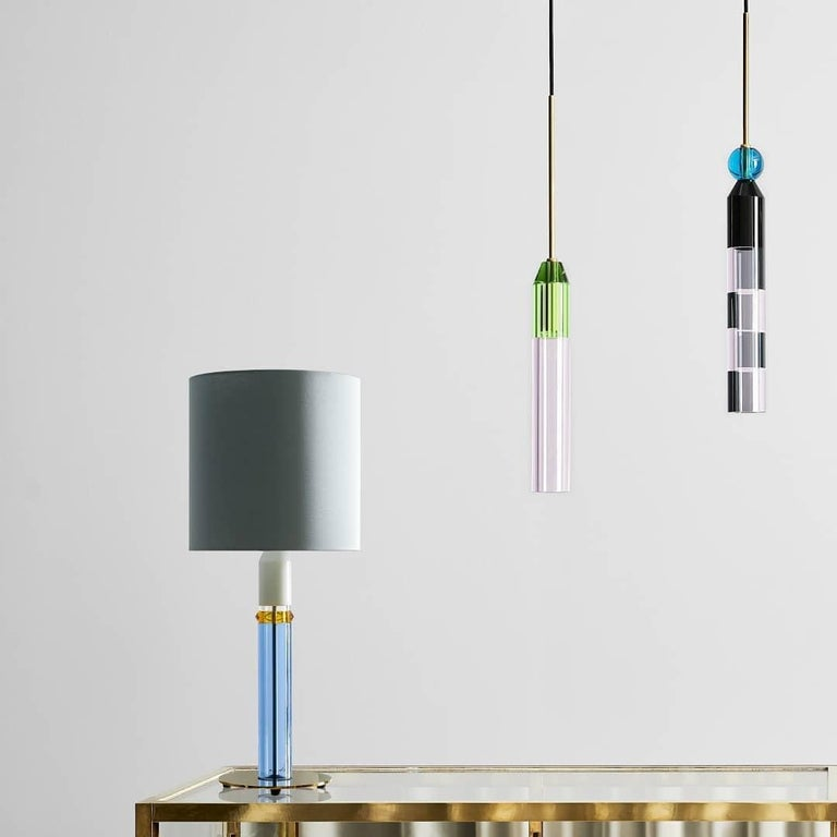Post-Modern Colorful Crystal Table Lamp, Hand-Sculpted Contemporary Crystal For Sale