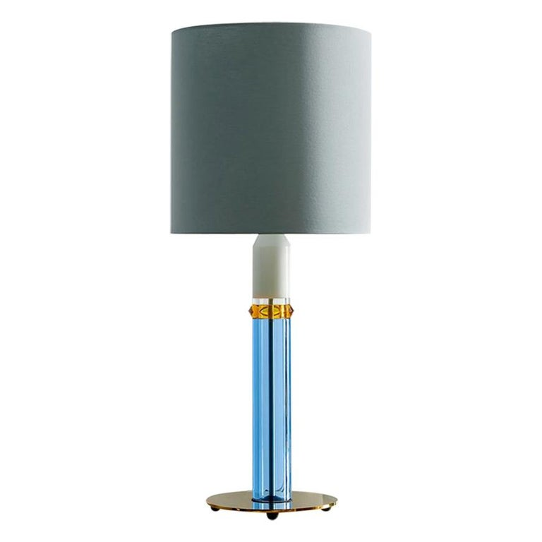 Colorful Crystal Table Lamp, Hand-Sculpted Contemporary Crystal For Sale