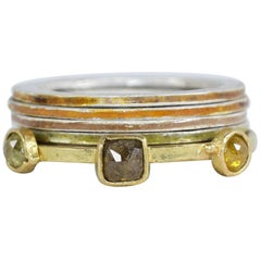 Colorful Diamonds 18 Karat Recycled Gold Fashion Cocktail Ring