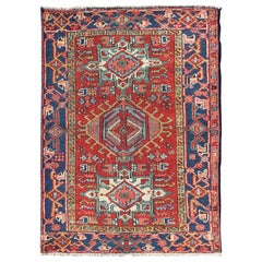 Colorful Early 20th Century Antique Persian Karadjeh Rug with Tribal Medallions