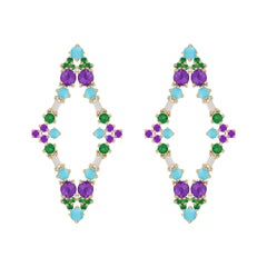 Colorful Earrings in 18k Gold with Emeralds, Amethysts, Diamonds and Turquoise