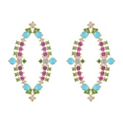 Colorful Earrings in 18k Gold with Pink Sapphires, Turquoise, Tsavorite, Diamond