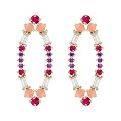 Colorful Earrings in 18kt Gold with Rubies, Amethysts, Corals and Diamonds