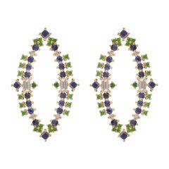 Colorful Earrings in 18k Gold with Sapphires, Tsavorites and Diamonds