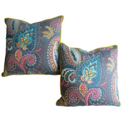 Colorful Embroidered Throw Pillows in Paisley Pattern