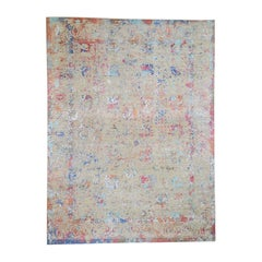 Colorful Erased Wool & Silk Persian Design Hand Knotted Oriental Rug