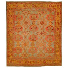 Colorful Excotic Oversize 20th Century Antique Turkish Oushak Rug