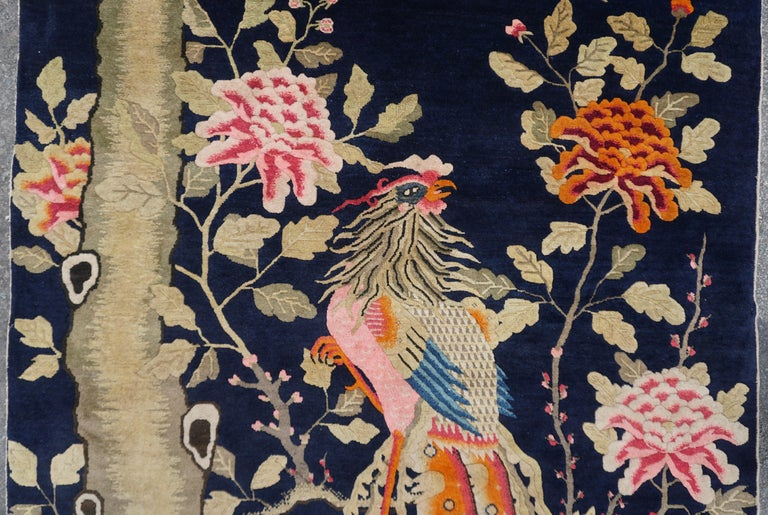 Hand-Knotted Colorful Fenghuang Chinese Phoenix Bird and Flower Wall Tapestry For Sale
