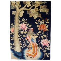 Colorful Fenghuang Chinese Phoenix Bird and Flower Wall Tapestry