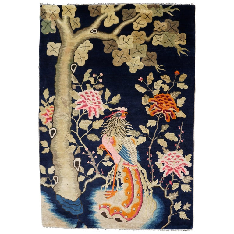 Colorful Fenghuang Chinese Phoenix Bird and Flower Wall Tapestry For Sale