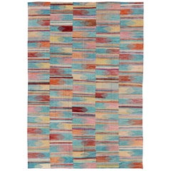Colorful Flat-Weave Kilim Rug with Modern Design