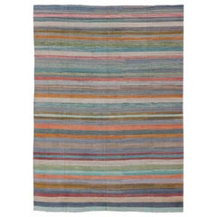 Colorful Flat-Weave Modern Kilim Rug with Classic Stripes for Modern Interiors