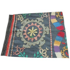 Colorful Floral Embroidered Vintage Suzani Fragment