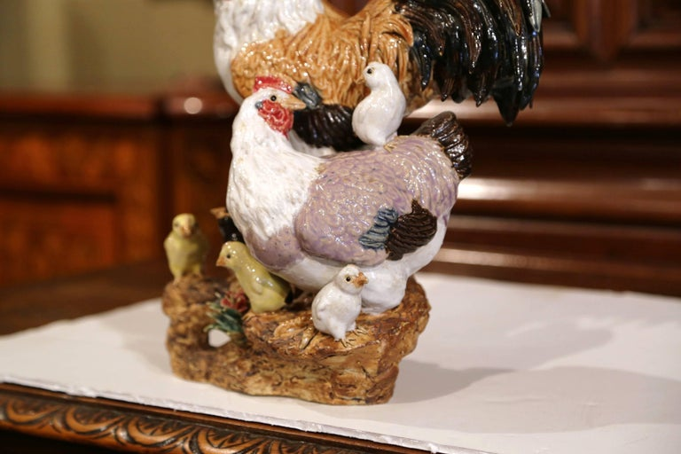 Colorful French Hand-Painted Barbotine Chicken Family Sculpture In Excellent Condition For Sale In Dallas, TX