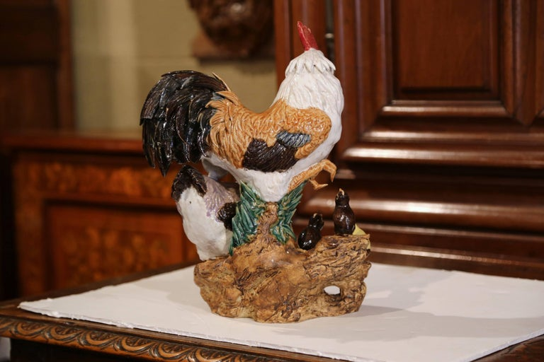 Colorful French Hand-Painted Barbotine Chicken Family Sculpture For Sale 1