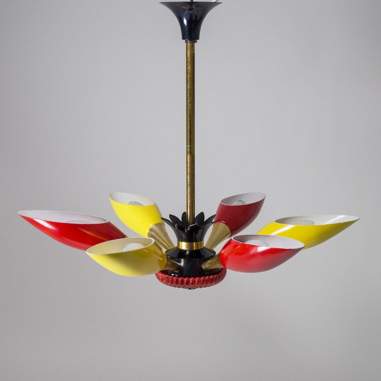 Colorful French Modern Chandelier, circa 1960 For Sale 4