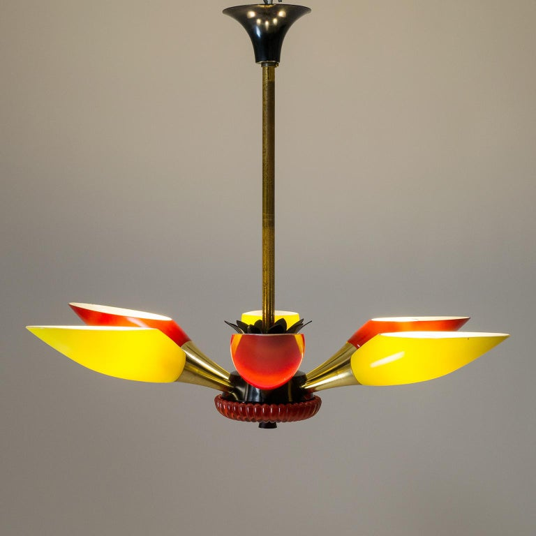 Colorful French Modern Chandelier, circa 1960 For Sale 5