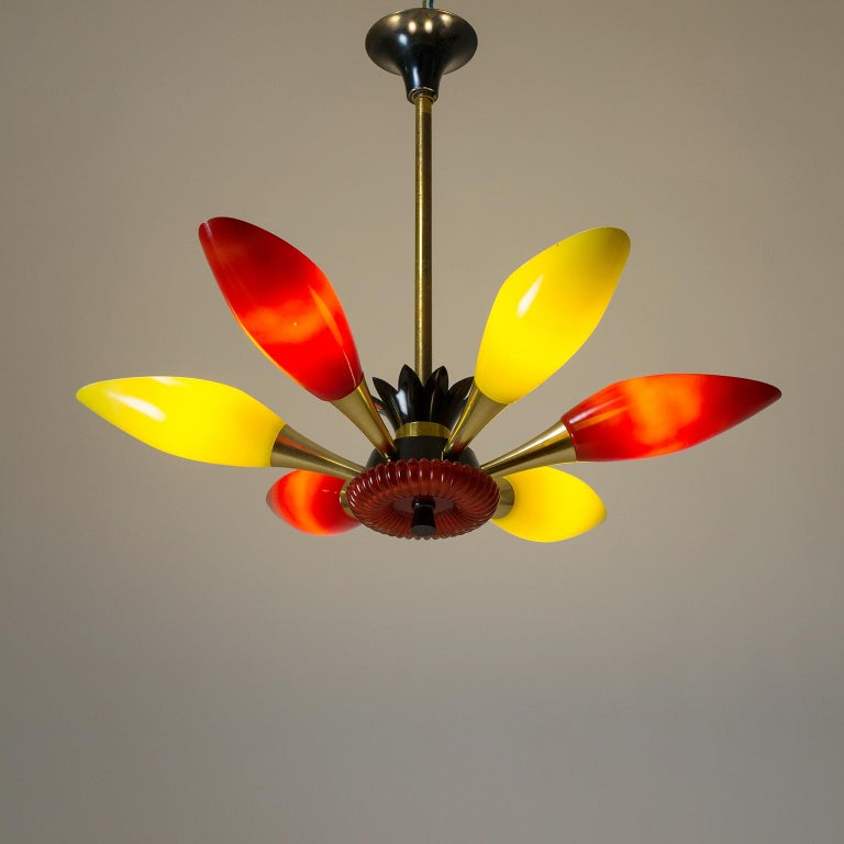 Colorful French Modern Chandelier, circa 1960 For Sale 6