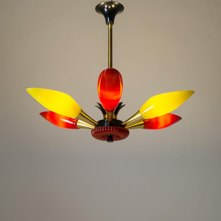 Colorful French Modern Chandelier, circa 1960 For Sale 7