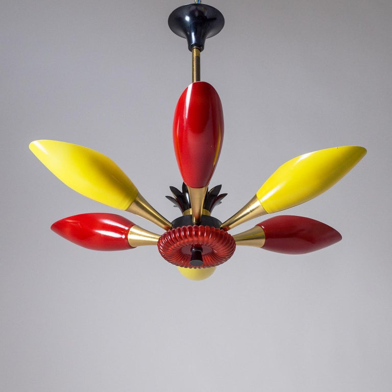 Colorful French Modern Chandelier, circa 1960 For Sale 8