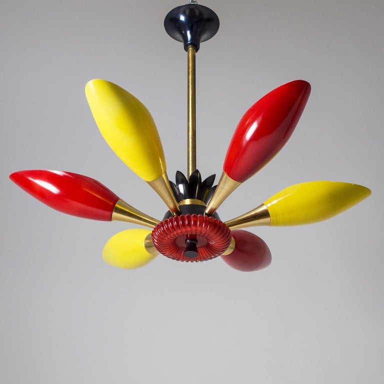 Colorful French Modern Chandelier, circa 1960 For Sale 9