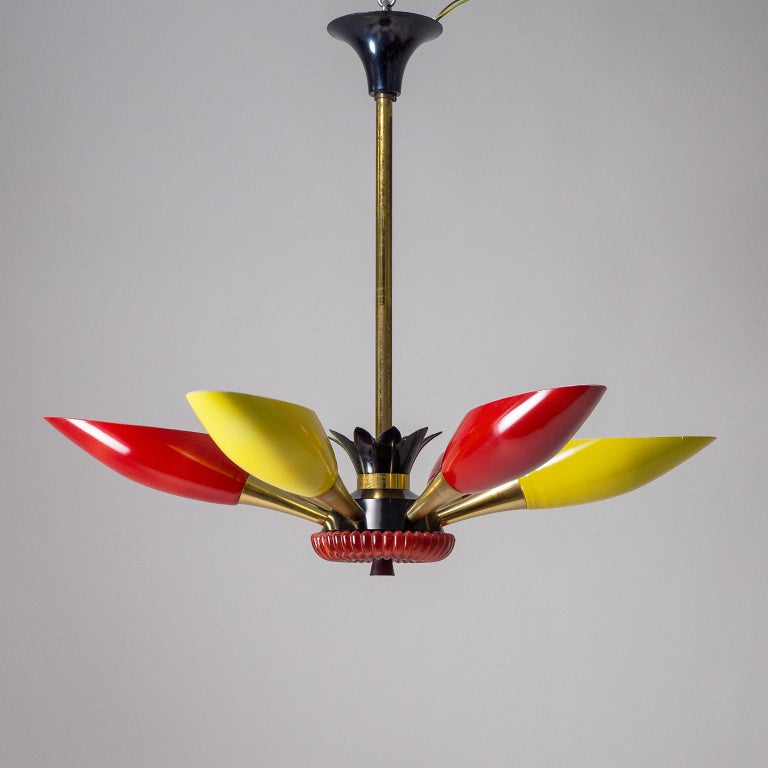 Colorful French Modern Chandelier, circa 1960 For Sale 10