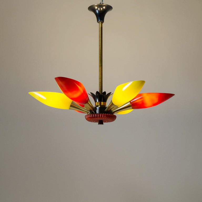 Colorful French Modern Chandelier, circa 1960 For Sale 11