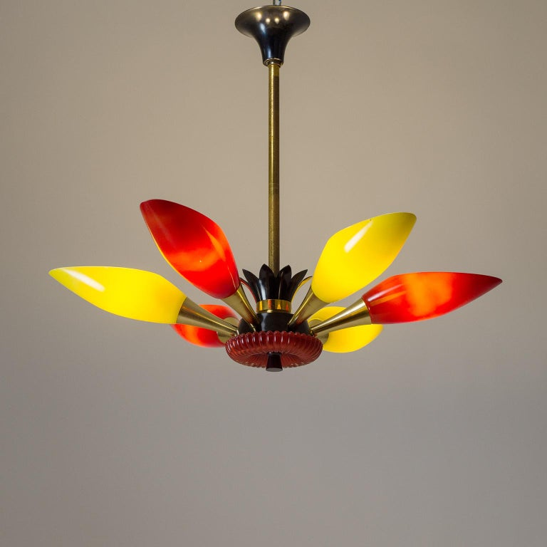 Mid-Century Modern Colorful French Modern Chandelier, circa 1960 For Sale